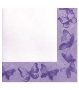 Tovaglioli 2 Veli Farfalla Viola 33 x 33 cm 3 confezioni