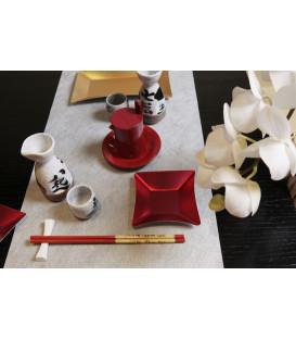 Piatti Piani di Carta Quadrati Piccoli Rosso Satinato Wasabi 19,8 x 19,8 cm