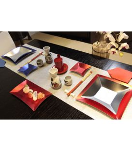 Piatti di Carta Quadrati Grandi Wasabi Rosso Opaco