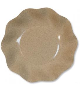 Piatti Fondi di Carta a Petalo Sabbia Medio 24 cm