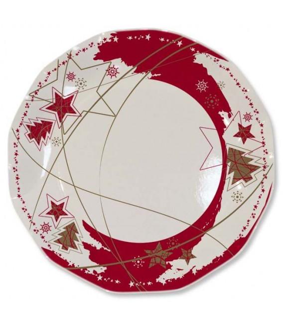 Piatti Piani di Carta a Petalo Stella Rossa