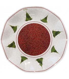 Piatti Piani di Carta a Petalo Natale Folk 24 cm