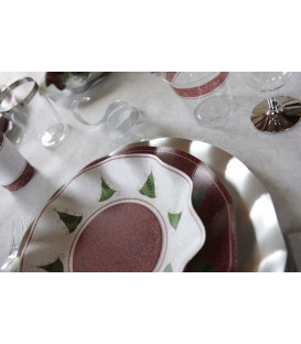Piatti Piani di Carta a Petalo Natale Folk 21 cm