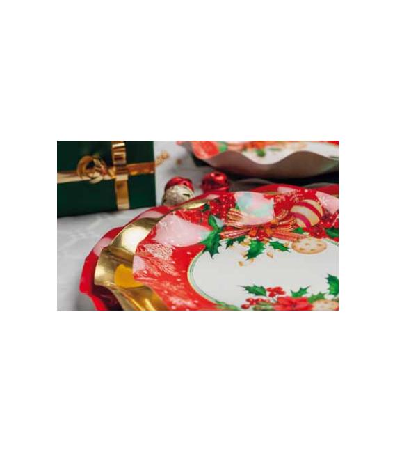 Piatti Piani di Carta Compostabili Christmas Decoration 27 cm