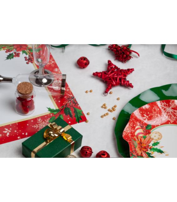 Piatti Piani di Carta Compostabili Christmas Decoration 21 cm