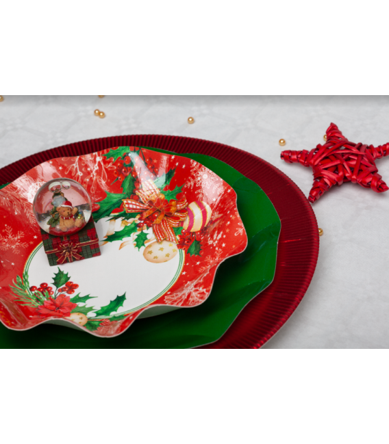 Piatti Fondi di Carta Compostabili Christmas Decoration 24 cm