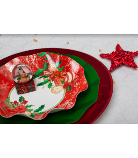 Piatti Fondi di Carta Compostabili Christmas Decoration 24 cm