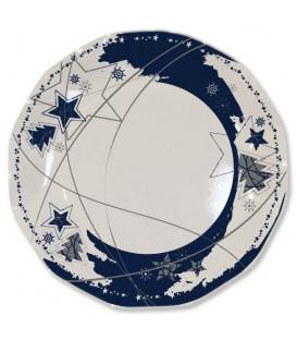 Piatti Piani di Carta a Petalo Stella Blu