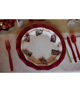 Piatti Piani di Carta a Petalo Natale Greetings 24 cm