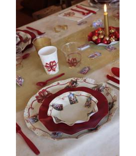 Piatti Maxi di Carta a Petalo Natale Greetings 32,4 cm