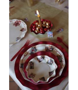 Piatti Fondi di Carta a Petalo Natale Greetings 24 cm