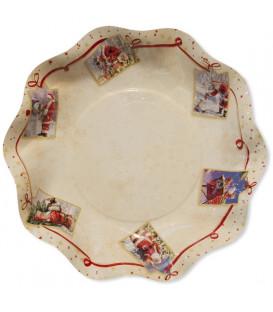 Piatti Fondi di Carta a Petalo Natale Greetings 24 cm 2 confezioni