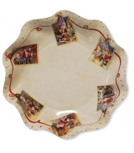 Piatti Fondi di Carta a Petalo Natale Greetings 18,5 cm