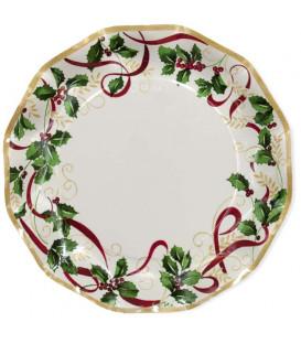 Piatti Piani di Carta a Petalo Natale Ribbon 27 cm 2 Confezioni
