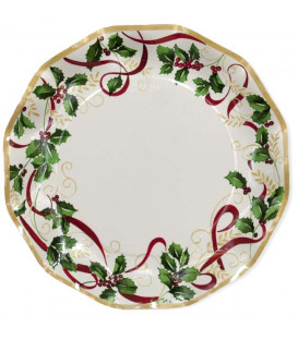 Piatti Piani di Carta a Petalo Natale Ribbon 27 cm