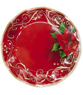 Piatti Piani di Carta a Petalo Natale Poinsettia 27 cm