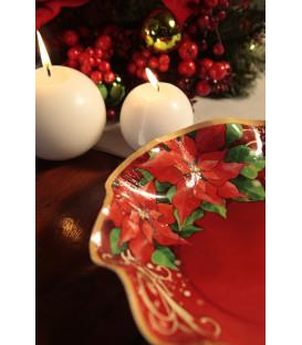 Piatti Fondi di Carta a Petalo Natale Poinsettia 18.5 cm 3 confezioni