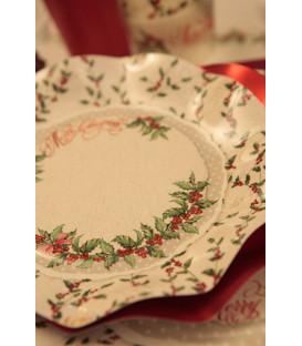 Piatti Piani di Carta a Petalo Natale Shabby Christmas 21 cm