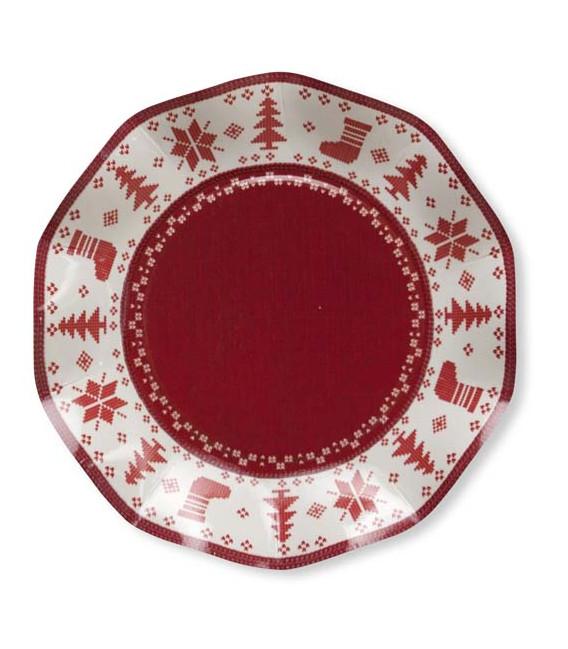 Piatti Piani di Carta a Petalo Natale Punto Croce 21 cm 2 confezioni