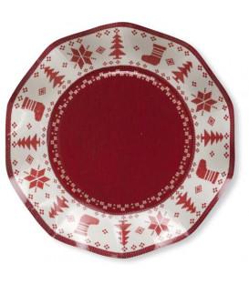 Piatti Piani di Carta a Petalo Natale Punto Croce 21 cm