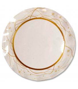 Piatti Piani di Carta a Petalo Natale Golden Christmas 32,4 cm