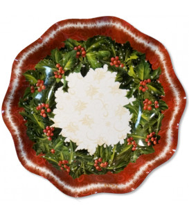 Piatti Fondi di Carta a Petalo Natale Ambience 24 cm