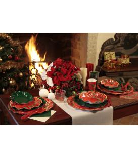 Piatti Piani di Carta a Petalo Natale Poinsettia 24 cm