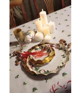 Piatti Fondi di Carta a Petalo Natale Ribbon 24 cm