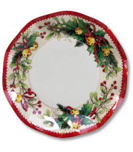Piatti Piani di Carta a Petalo Natale Jingle Bells 24 cm