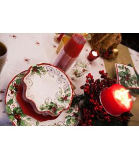 Piatti Fondi di Carta a Petalo Christmas Style 24 cm