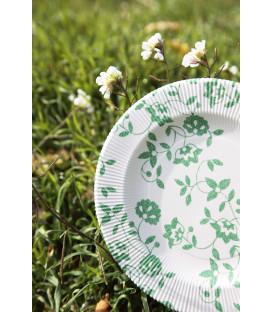 Piatti Piani a Righe Compostabili Natura Verde 21 cm