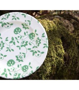 Piatti Fondi a Righe Compostabili Natura Verde 25,5 cm