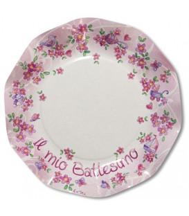 Piatti Piani di Carta a Petalo Battesimo Rosa 27 cm