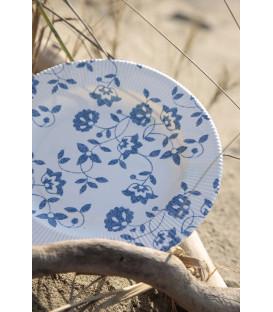 Piatti Fondi a Righe Compostabili Natura Blu 25,5 cm