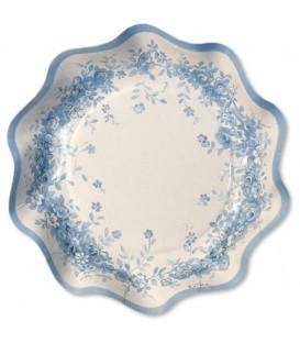 Piatti Fondi di Carta a Petalo Rose Garden Blu 18,5 cm