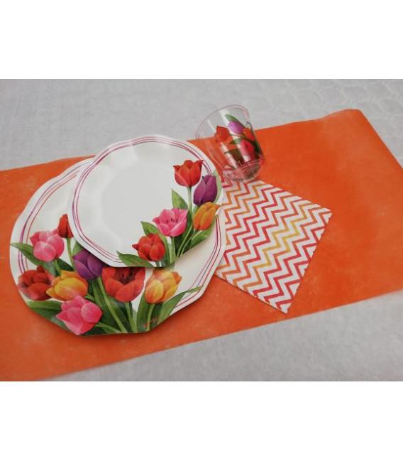 Piatti Piani di Carta a Petalo Tulipani Colorati 32,4 cm