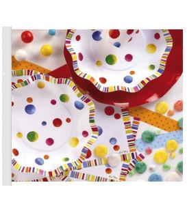 Piatti Fondi di Carta a Petalo coriandoli Buon Compleanno 18,5 cm