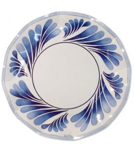 Piatti Piani di Carta a Petalo Itaca Bicolore Blu 27 cm