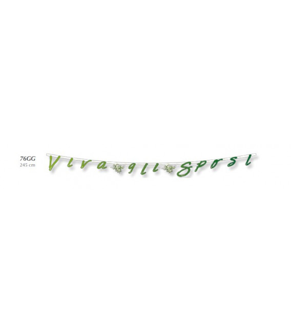 Festone con Lettere Sagomate Mughetto VIVA GLI SPOSI 245 cm