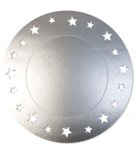 Sottopiatto Piano con stelline Argento Satinato 34 cm 4 Pz