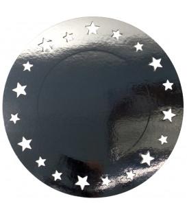 Sottopiatto Piano con stelline Argento Lucido 34 cm 4 Pz