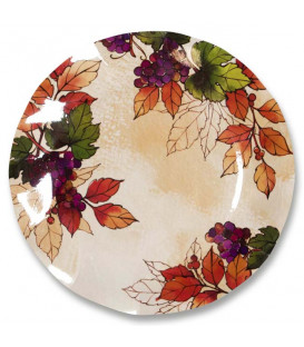 Piatti Piani di Carta a Petalo Autunno Grapes 27 cm