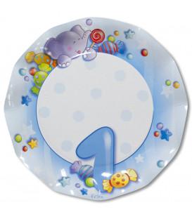 Piatti Piani di Carta Primo Compleanno Celeste 27 cm