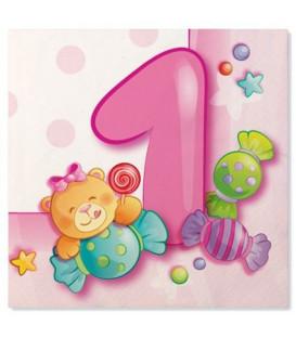 Tovaglioli 3 Veli Primo Compleanno Rosa 33 x 33 cm 3 confezioni