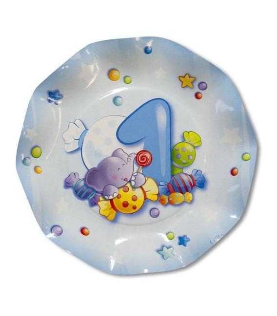 Piatti Piani di Carta Primo Compleanno Celeste