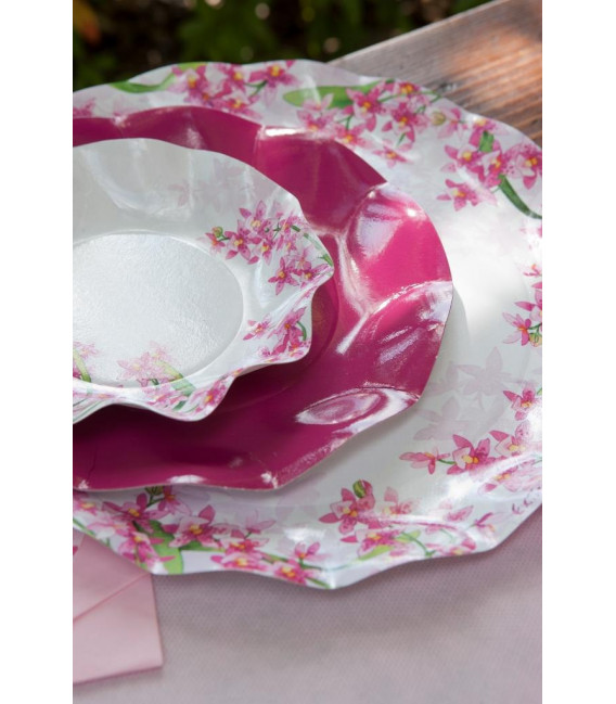 Piatti Piani di Carta a Petalo Orchidea 24 cm