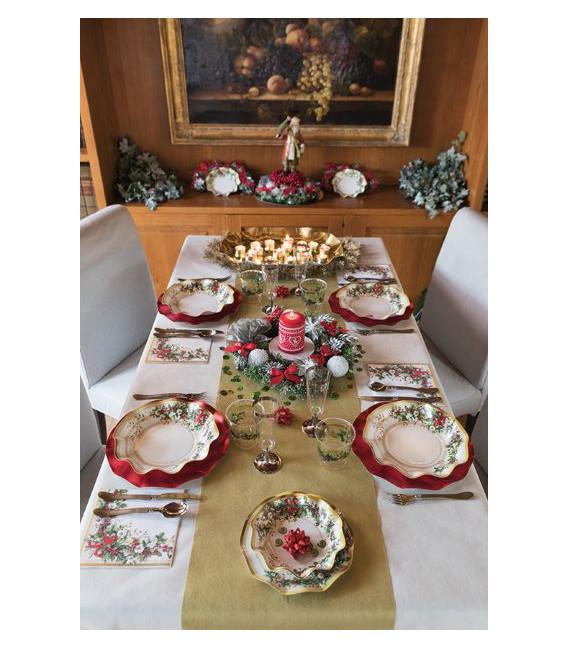 Piatti Piani di Carta a Petalo Ghirlanda di Natale 24 cm