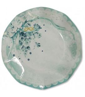 Piatti Piani di Carta a Petalo Fedi Nuziali 27 cm 2 confezioni