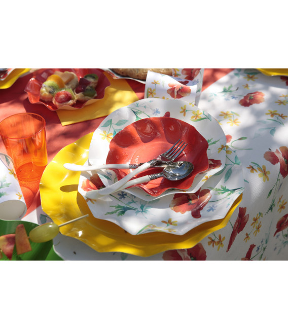 Piatti Fondi di Carta a Petalo Papaveri Poppy 24 cm