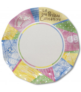 Piatti Piani di Carta Comunione Colorata 27 cm